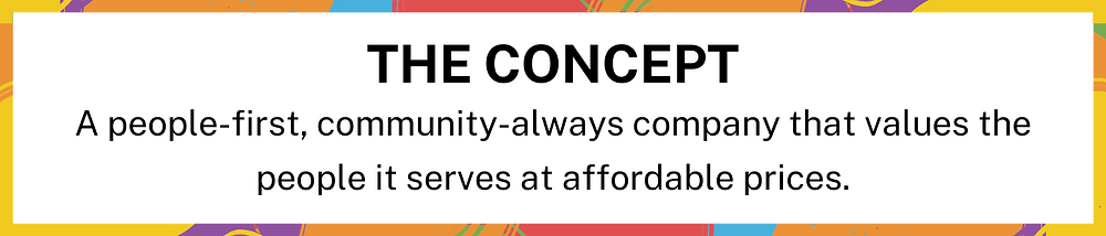 [Image Description: The Concept - A people-first, community-always company that values the people it serves at affordable prices. END ID]