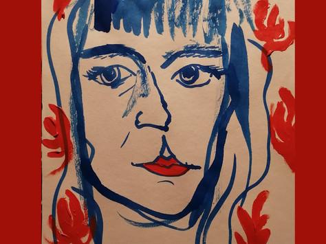 Auto retrato - acrílica e ecoline sobre papel