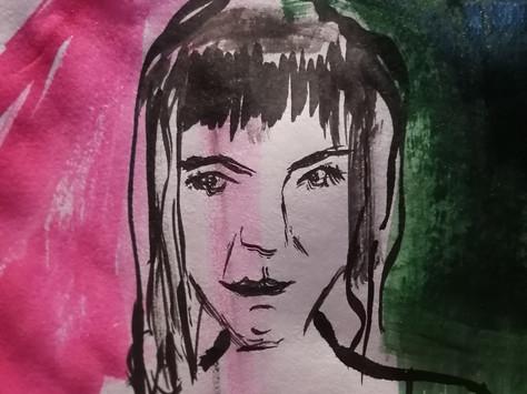 Auto retrato- ecoline sobre papel