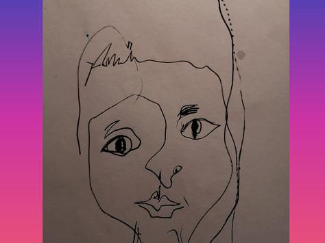Auto retrato - caneta sobre papel