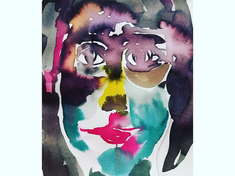 Auto retrato - ecoline sobre papel