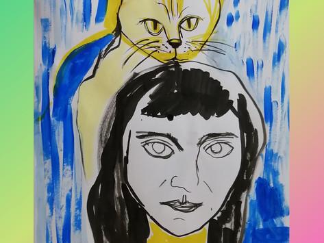 Auto retrato - ecoline e acrilica sobre papel