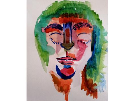 Auto retrato - aquarela sobre papel