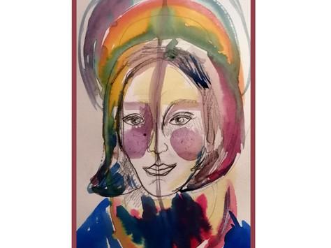 Retrato da Kalindi - ecoline sobre papel