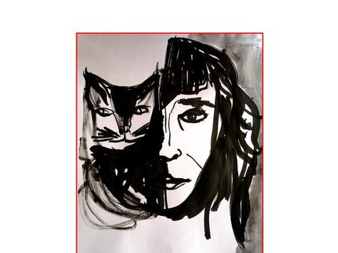 auto retrato - naquim sobre papel