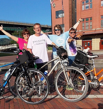 The Nelson family at Canal Place, Cumberland, MD on their ride from DC to Pittsbugh