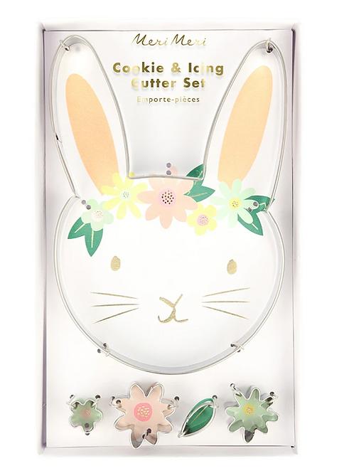 Cortador de galletas conejo grande y flores- Meri Meri