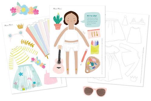 muñecas de papel impresas Meri Meri: Lila