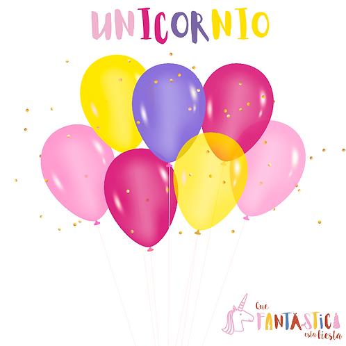Set de globos latex unicornio