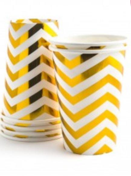 Vasos chevron dorado pequeño