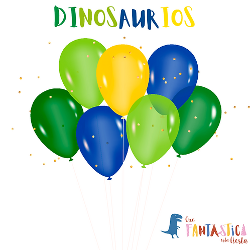 Set de globos latex dinosaurios