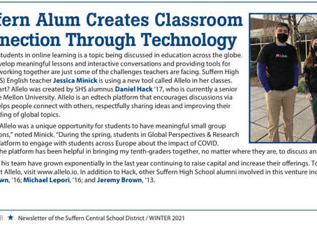 "Suffern Central School District: ""Suffern Alum Creates Classroom Connection Through Technology"""