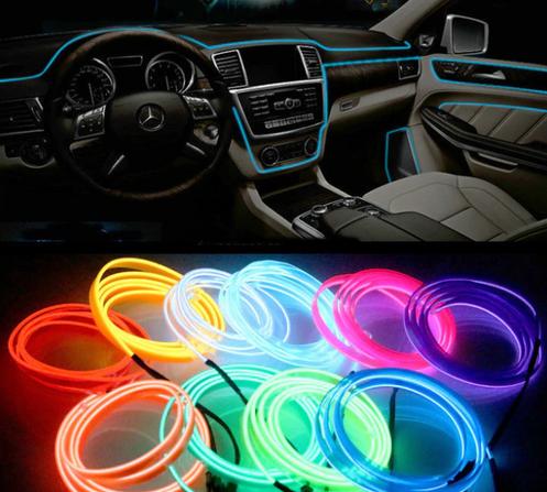 3m 5m Oświetlenie Wnętrza Samochodu Auto Led Strip Garland El Wire Line Elasty