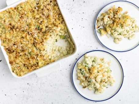 Vegan Mac 'n Cheese met Broccoli en Pankokorst