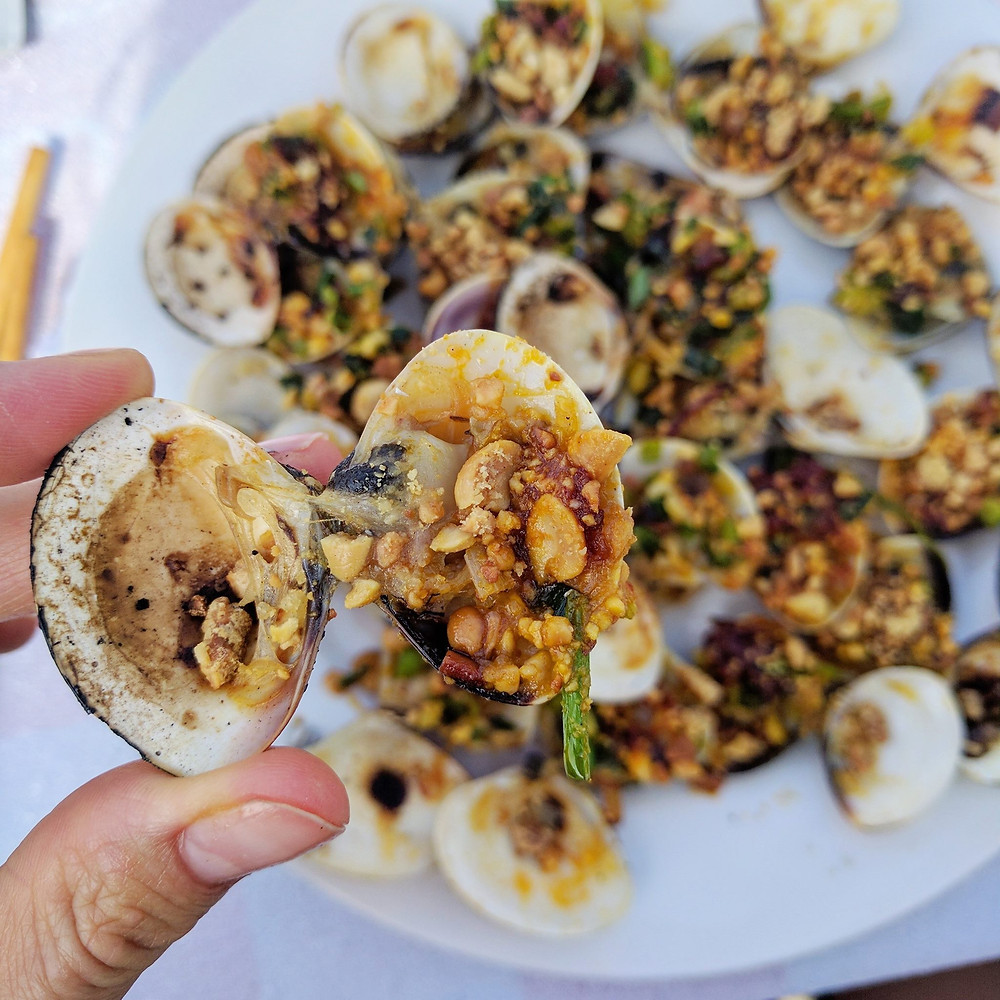 Grilled Clams at Anbang Beach, Vietnam