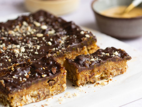 Krokante karamel-chocoladebars