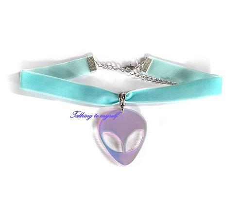 Sametti choker - Iridescent  Alien - blue