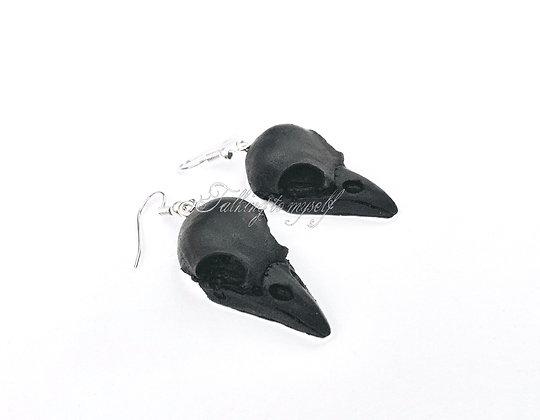 Mustat linnukallo - korvikset