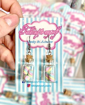 Vaahtokarkki purkki - korvakorut - pink+blue+yellow