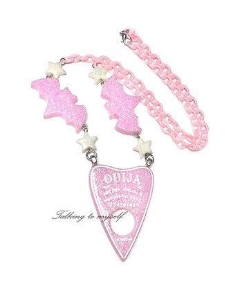 Planchette+bat - necklace - pink