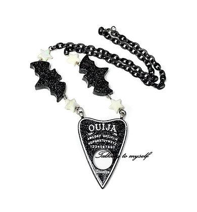 Planchette+bat - necklace - black