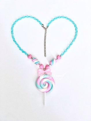 Vaahtokarkki-tikkari - kaulakoru - pink/blue