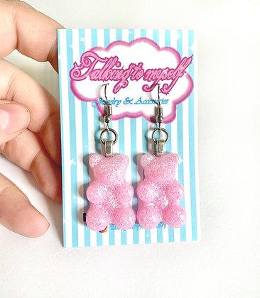 Nallekarkki-korvakorut - pink glitter