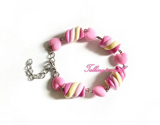 Vaahtokarkki+sydän - rannekoru - pink/yellow