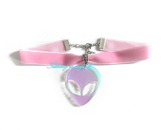 Sametti choker - Iridescent  Alien - pink