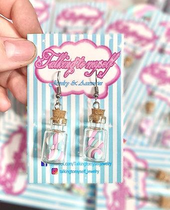 Vaahtokarkki purkki - korvakorut - pink+blue