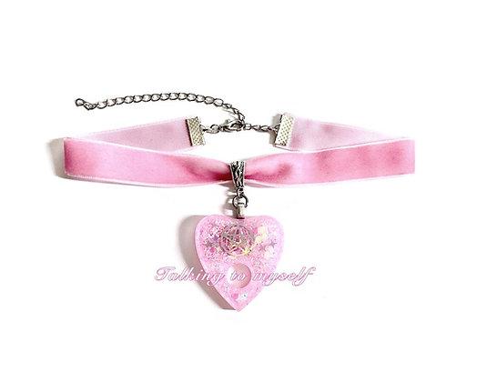 Sametti choker - Holoplanchette - pink