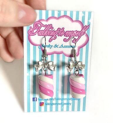 Vaahtokarkki - korvakorut - pink