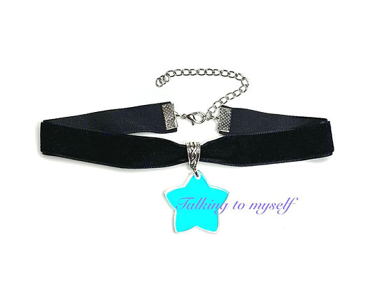 Sametti choker - Iridescent  Star - black
