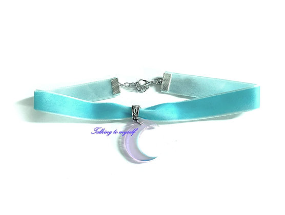 Sametti choker - Iridescent  Moon - blue
