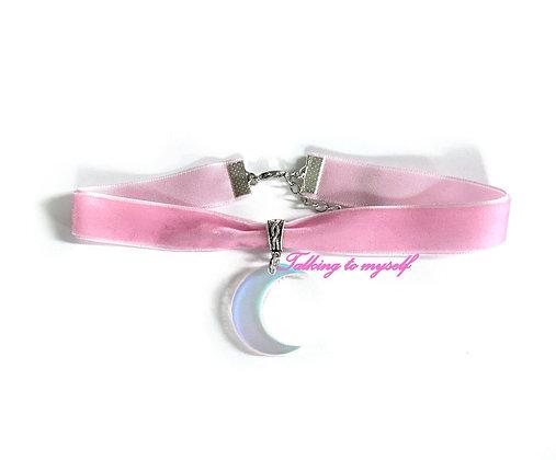 Sametti choker - Iridescent  Moon - pink