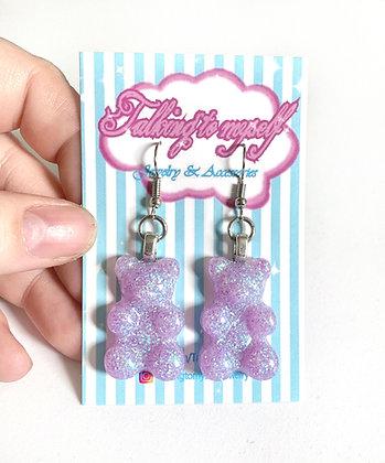 Nallekarkki-korvakorut - lila glitter