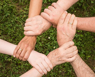 image of connected hands showing teamwork