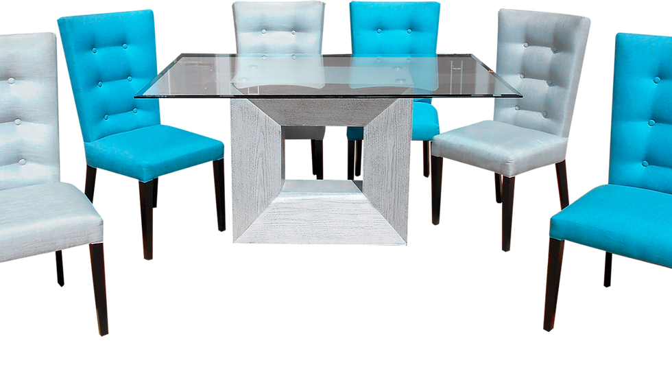 Antecomedor Diamante / 3 Sillas Color Turquesa / 3 Sillas Color Gris
