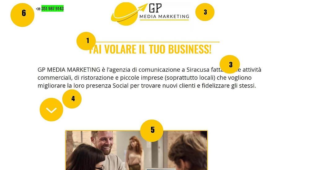 home page del sito gp media marketing con focus sui punti di interesse