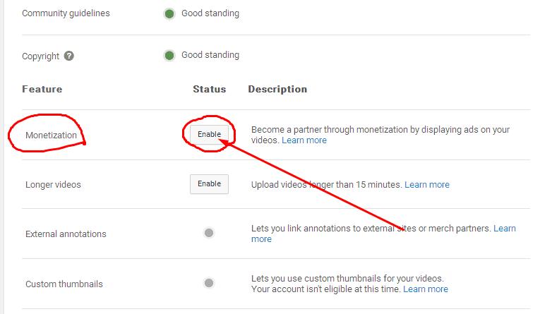 abilitare monetizzazione su youtube