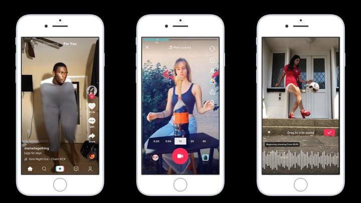 vari video di tiktok visti su 3 smartphone