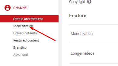 impostazioni del canale per attivare la monetizzazione