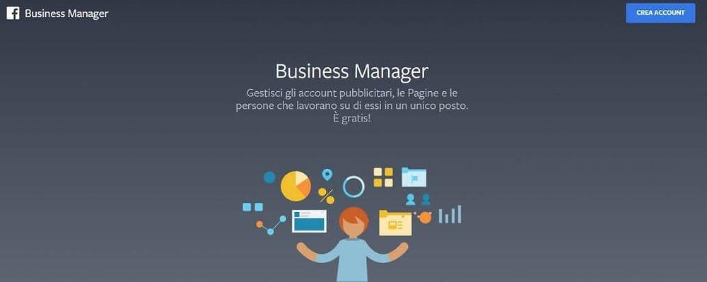 pagina iniziale del business manager
