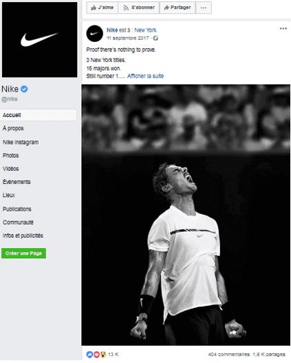 post della pagina facebook di nike