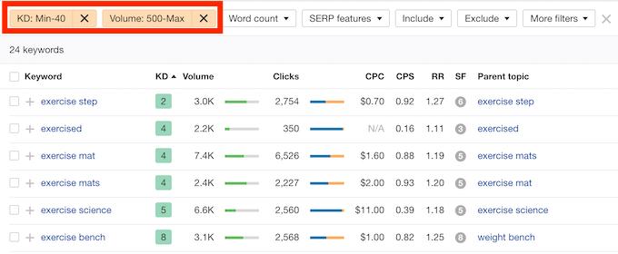 keyword ricercate su soovle e filtro di ricerca