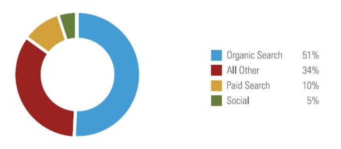 grafico a torta che mostra la percentuale di traffico sul sito web
