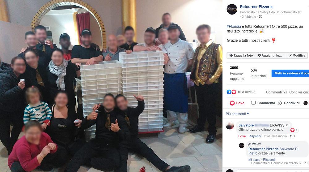 pagina facebook aziendale di una pizzeria con i dipendenti che festeggiano