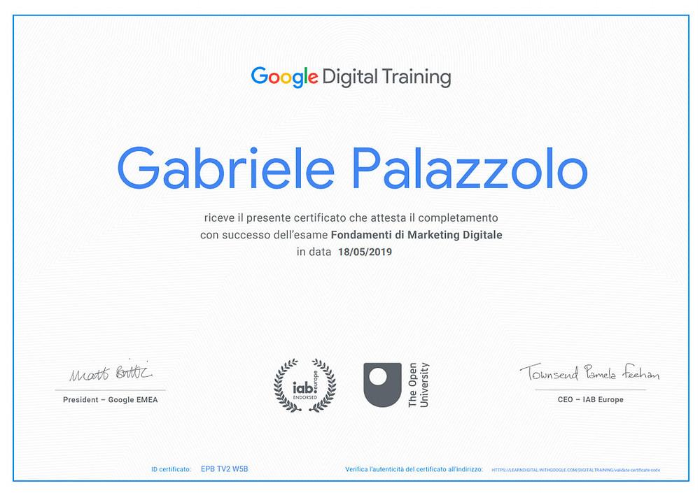 attestato italiano di google digital training 2020