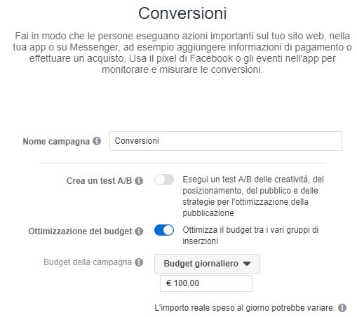 pannello di controllo del business manager per impostare il budget della campagna pubblicitaria facebook
