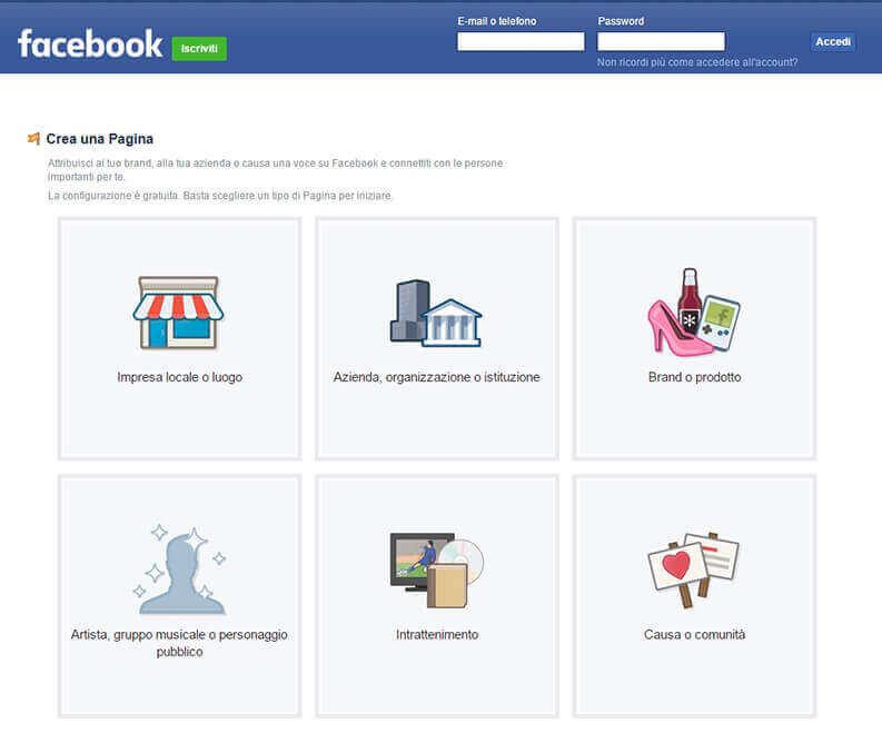 schermata iniziale per la scelta della categoria della pagina aziendale su facebook